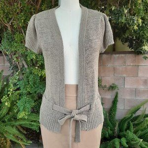 August Silk Open Cardigan with Belt Tan Small